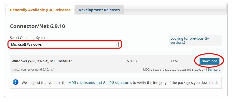 MySQLコネクタダウンロード選択の画像