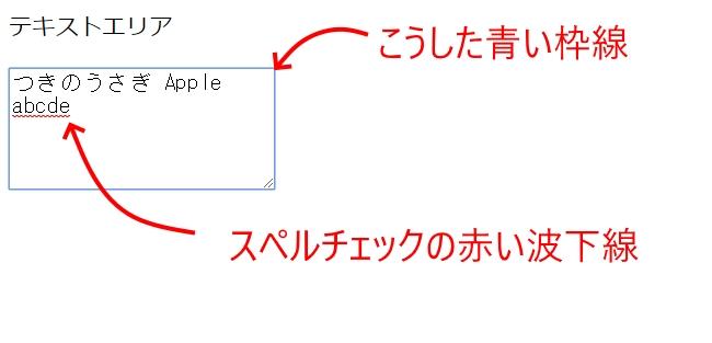 HTML5:テキストエリアの赤い下線や青い枠線を消したい
