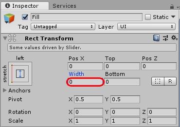 Unity:スライダーをHPバーっぽく表示する
